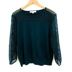 LOFT Dark Green Lace Sleeve Sweater XL
